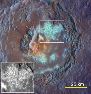 This photo of a Mercury crater seen by NASA's Messenger spacecraft shows what appears to be a large pit in the center, possibly volcanic vent.