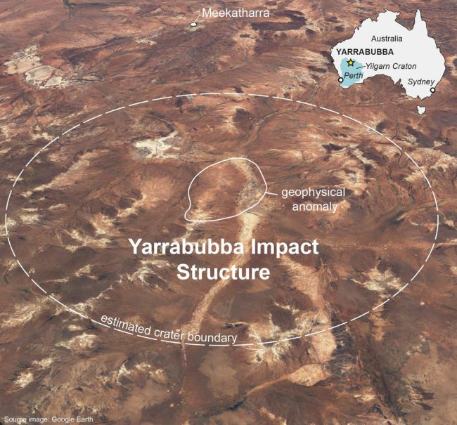 A Google Earth image of the Yarrabubba impact structure in Western Australia, with the vanished crater drawn in by the authors.