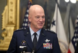 After being sworn in as the first Chief of Space Operations by U.S. Vice President Mike Pence, Gen. John Raymond addresses the audience in the Executive Eisenhower Office Building, Washington, D.C., on Jan. 14, 2020.
