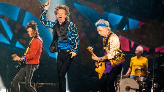 Ronnie Wood, Mick Jagger, Keith Richards and Charlie Watts of the Rolling Stones on stage in 2016