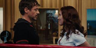Tony Stark meeting Natasha Romanoff in Iron Man 2