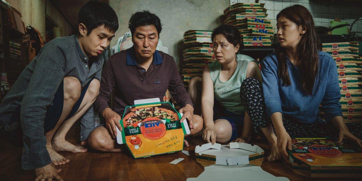 Choi Woo-shik, Kang-Ho Song, Lee Jung-eun, and Park So-dam in Parasite