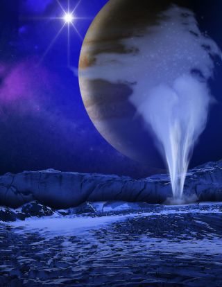An artist's illustration of Jupiter's icy moon Europa, with a water geyser erupting in the foreground while Jupiter appears as a backdrop.