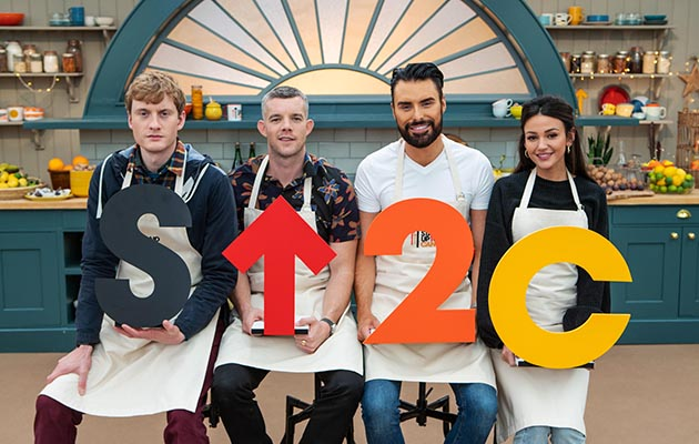 The Great Celebrity Bake Off Series 2 (SU2C): Bakers James Acaster, Russell Tovey, Rylan Clark-Neal and Michelle Keegan