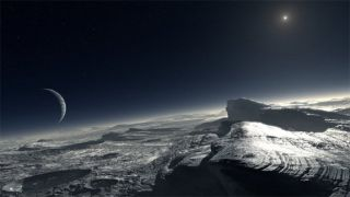 Artist's impression of how the surface of Pluto might look. The image shows patches of pure methane on the surface.