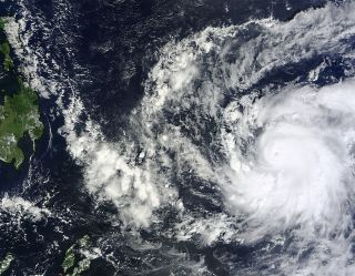 The MODIS instrument on NASA's Terra satellite captured this visible image of Super Typhoon Bopha approaching the Philippines on Dec. 2, 2012 at 0145 UTC (Dec. 1 at 7:45 p.m. EST).