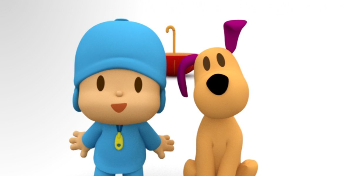 Pocoyo and Loula standing in the white void in Pocoyo