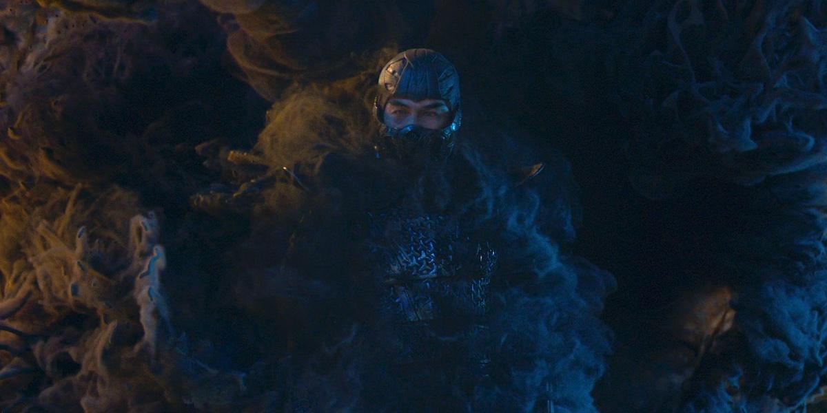 Mortal Kombat Ninja arriving in billows of smoke.