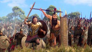 Greek warriors charge, let by a heroic spearman and a giant shieldbearer