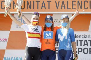 The final podium: Mavi Garcia, Annemiek van Vleuten and Katrine Aalerud in the Setmana Ciclista Valenciana 2021