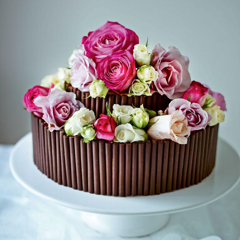Rose and Chocolate Wedding Cake photo