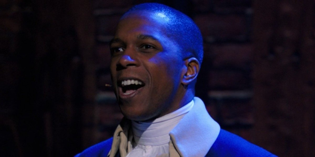 Aaron Burr (Leslie Odom Jr.) sings to the audience in 'Hamilton'