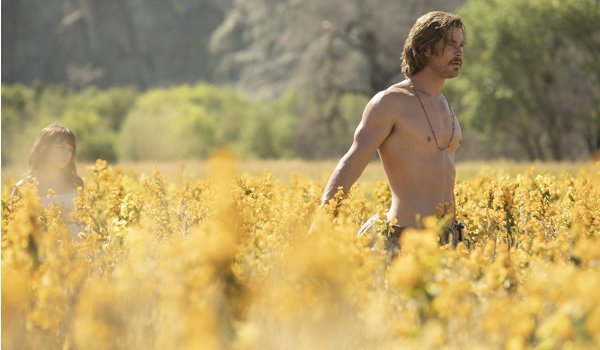 Bad TIme At The El Royale Chris Hemsworth wandering shirtless through a field