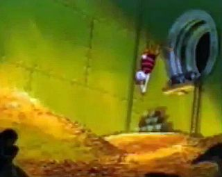 Scrooge McDuck diving into his vault full of gold.