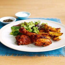 peri-peri chicken and spicy potato wedges