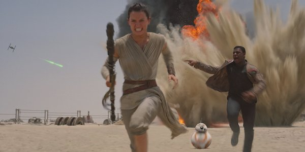 Star Wars: The Force Awakens Rey and Finn on the run