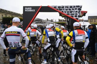 ROUBAIX FRANCE OCTOBER 03 Riders of Team DELKO wear a special edition Look 1985 kit for ParisRoubaix based in La Vie Claire Team jersey of the 1980s inspired by Dutch artist Piet Mondrian prior to the 118th ParisRoubaix 2021 Mens Eilte a 2577km race from Compigne to Roubaix ParisRoubaix on October 03 2021 in Roubaix France Photo by Tim de WaeleGetty Images