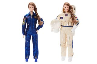Mattel created two versions of the cosmonaut Anna Kikina Barbie doll: one wearing a flight suit and one in a Russian Orlan spacesuit.