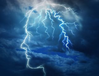 An artist's image of a storm within the mind.