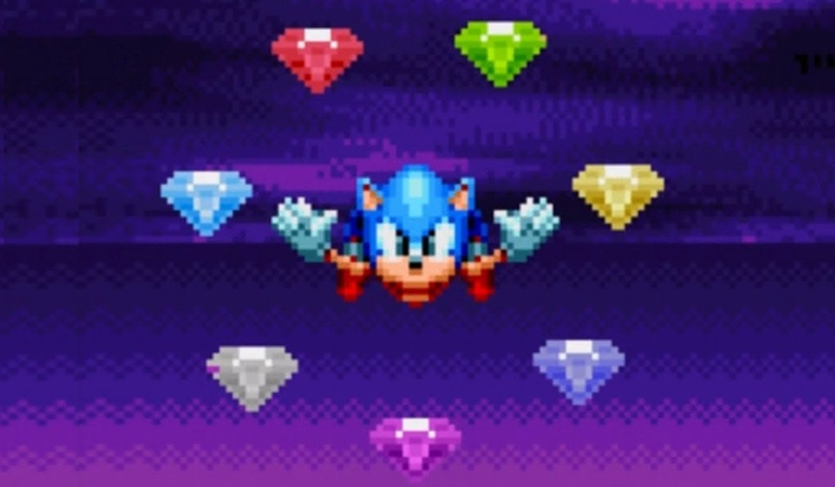 Sonic Mania Sonic floats in the air with the Chaos Emeralds