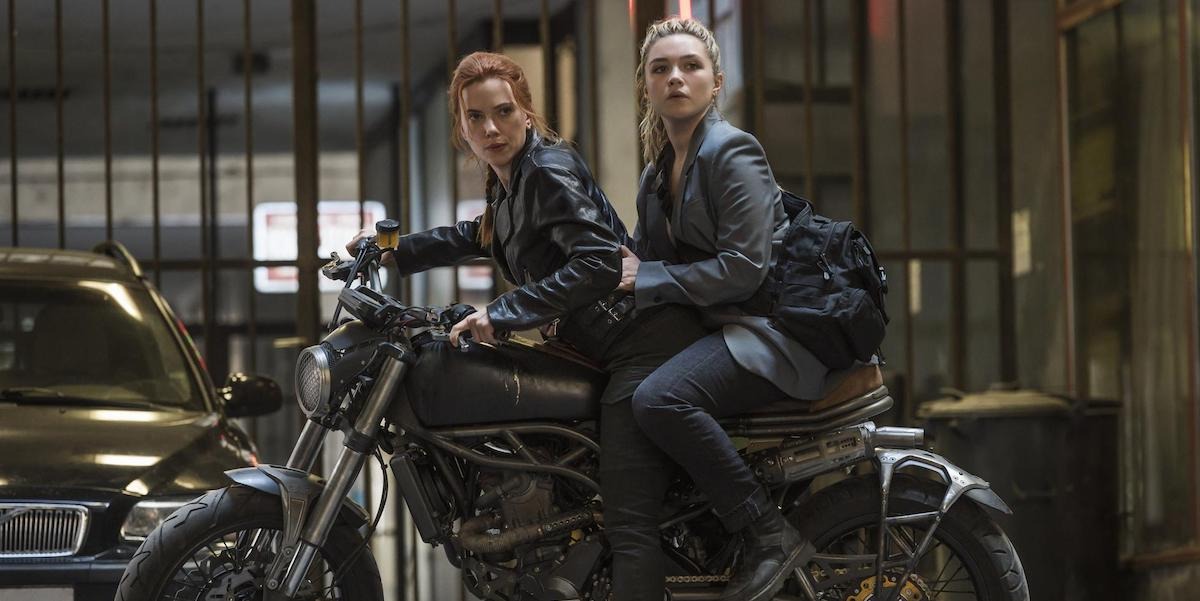 Scarlett Johansson and Florence Pugh on motorcycle in Black Widow