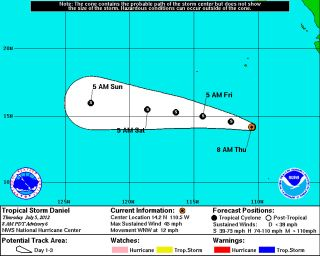 Expected path of Tropical Storm Daniel