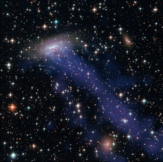 This image of the galaxy ESO 137-001 is a combination of images from the Hubble Space Telescope and Chandra X-ray Observatory showing the galaxy being ripped to shreds (blue streaks) as it passes through a galaxy cluster.