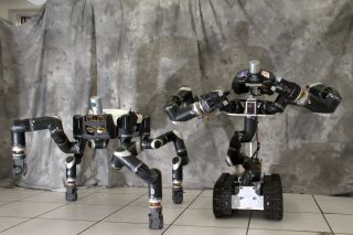 NASA's ape-like RoboSimian (left) and new Surrogate robot were developed by engineers at the agency's Jet Propulsion Laboratory in Pasadena, California. RoboSimian will compete in the 2015 DARPA Robotics Challenge in June.