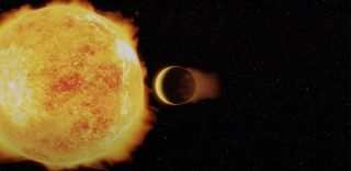 An artist's impression of the ultrahot Neptune exoplanet LTT 9779b.