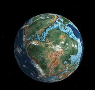 This is what the globe would look like 170 million years ago during the Jurassic Period.