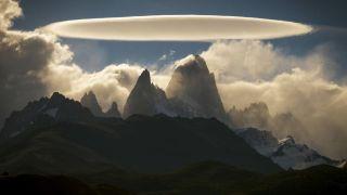 An eerie lenticular cloud forms over El Chalten mountain in Argentina