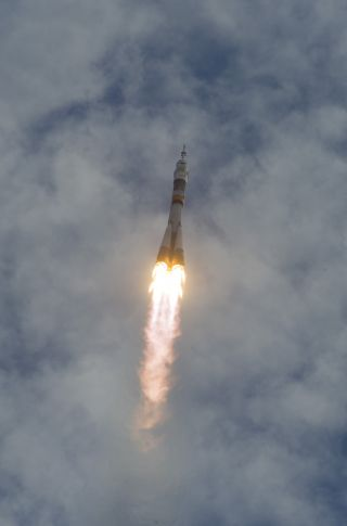 The Soyuz TMA-05M rocket launches from the Baikonur Cosmodrome in Kazakhstan on Sunday, July 15, 2012.
