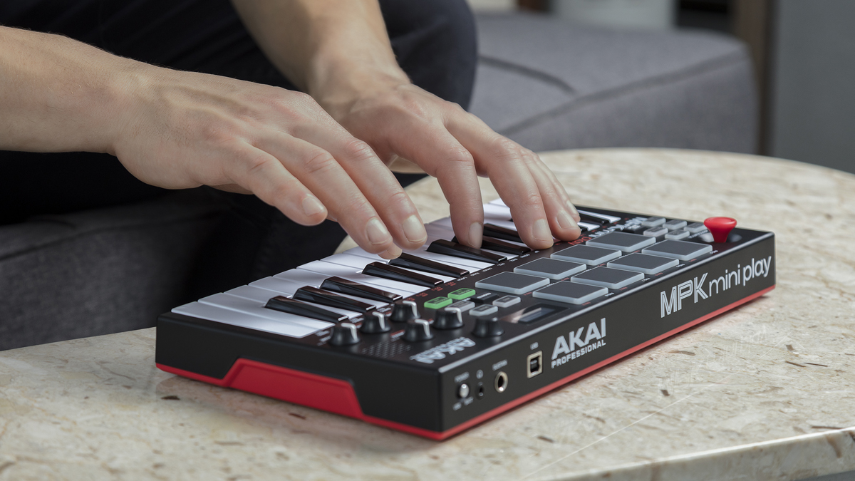 Akai Pro's MPK Mini Play is a compact MIDI controller keyboard with its own built-in sounds