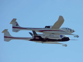 The X-37 experimental spaceship will drop from the White Knight carrier craft.