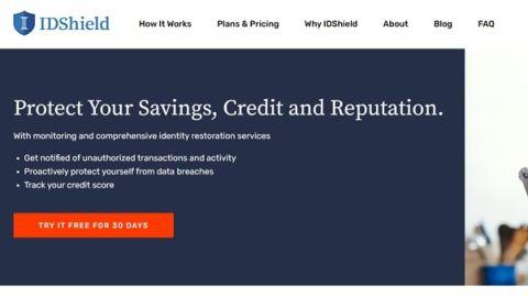 IDShield's homepage