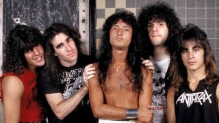 Anthrax in 1985, standing in a row in a tiled room
