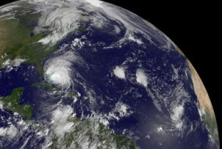 Hurricane Irene and a smaller tropical depression
