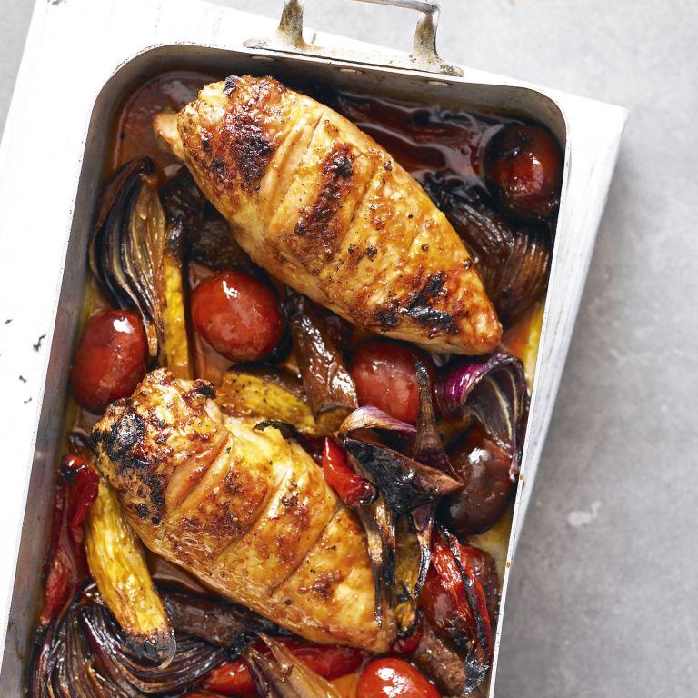 Sticky chicken and chorizo traybake roast-woman and home