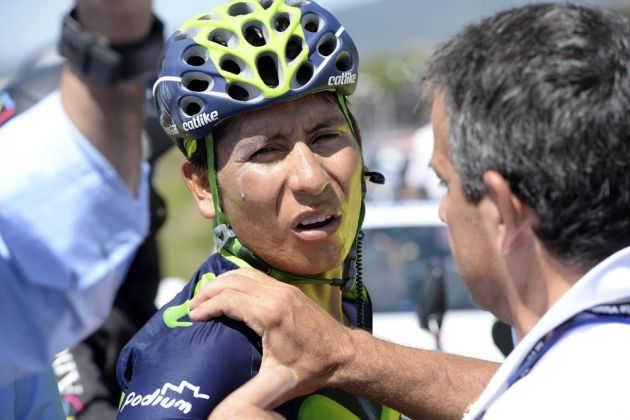 Nairo Quintana after a crash on stage eleven of the 2014 Tour of Spain