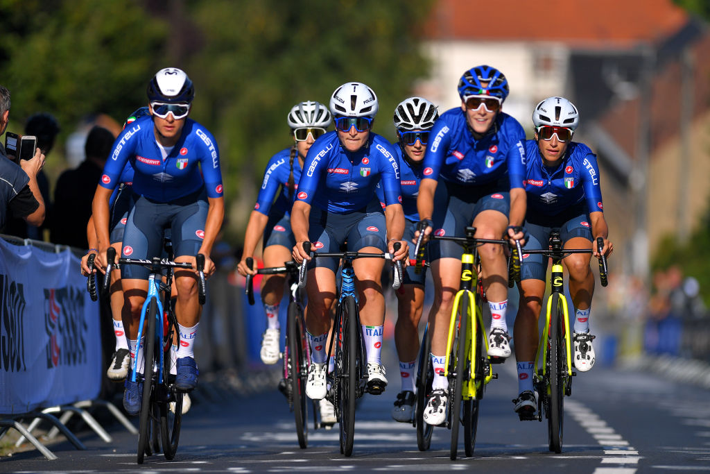 LEUVEN BELGIUM SEPTEMBER 23 LR Barbara Guarischi of Italy Elisa Longo Borghini of Italy Elisa Balsamo and teammates during the 94th UCI Road World Championships 2021 Training flanders2021 on September 23 2021 in Leuven Belgium Photo by Luc ClaessenGetty Images