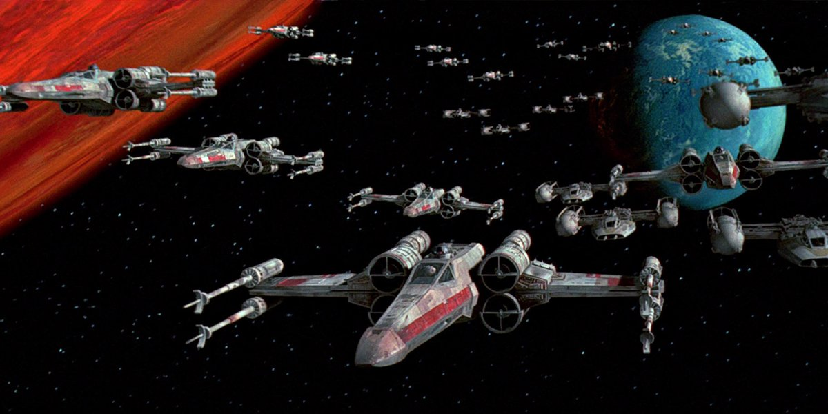 Fleet of X-Wings in Star Wars A New Hope special edition