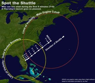 Space Shuttle Launch Visible Across Eastern U.S. Thursday