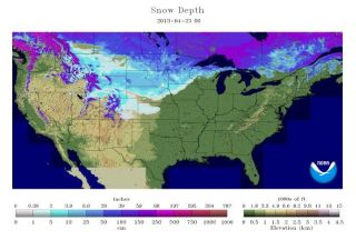 Snow depths on April 23, 2013.