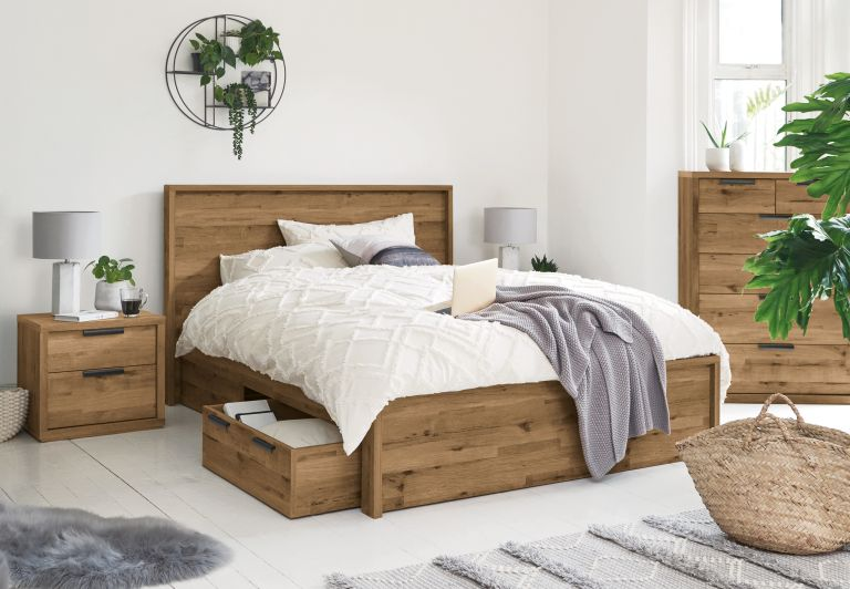 wooden bed with storage by next
