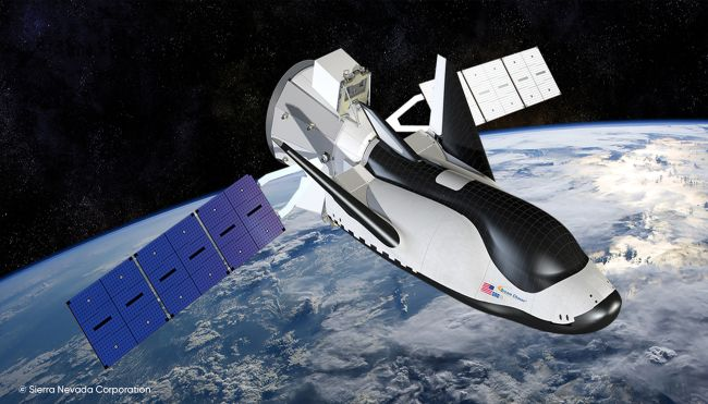 An artist's rendering of Dream Chaser in orbit.
