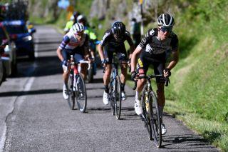 George Bennett (Jumbo-Visma) attacks his breakaway companions on the final climb of stage 12 of the 2021 Giro d'Italia