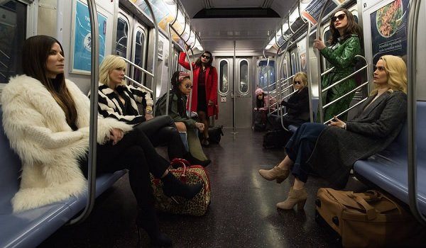 Ocean's 8 Sandra Bullock and her team sit on the subway