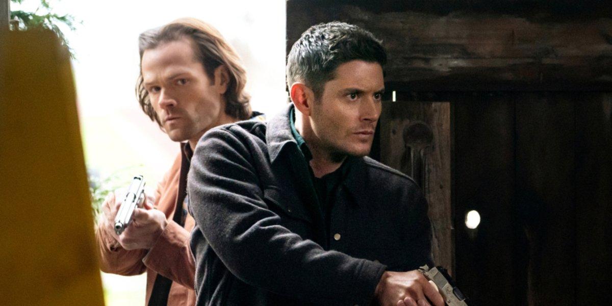 supernatural season 15 sam and dean winchester the cw guns drawn