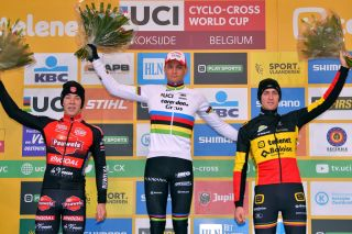 Mathieu van der Poel on the Koksijde podium with Sweeck (left) and Aerts
