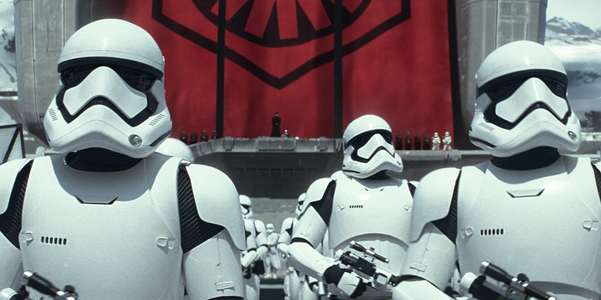 A group of stormtroopers in Star Wars: The Force Awakens